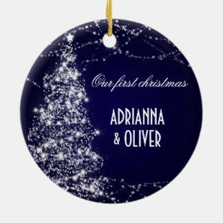 Elegant Blue Shimmering Tree First Christmas Round Ceramic Decoration