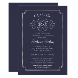 Elegant Blue   Silver College Graduation Party Card