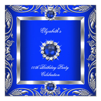Elegant Blue Silver Floral Pearl Jewel Birthday Card