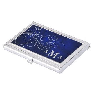 Elegant Blue Silver Swirl Monogram Business Card Holder