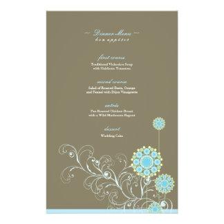 Elegant Blue Snow Flower Swirls Wedding Menu Card