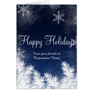 Elegant blue snowflake winter corporate greetings greeting card