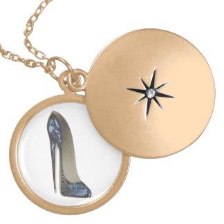 Elegant Blue Stiletto High Heel Shoe Art Gifts Lockets