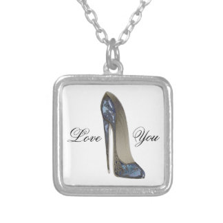 Elegant Blue Stiletto Shoe Art Gifts Square Pendant Necklace