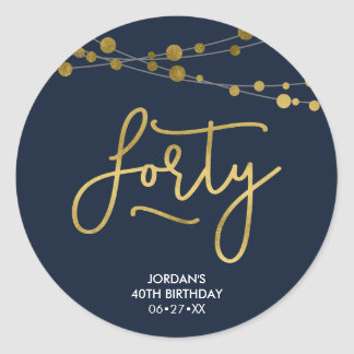 Elegant Blue Strings of Lights 40th Birthday Classic Round Sticker
