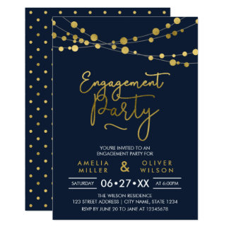 Elegant Blue Strings of Lights Engagement Party Card