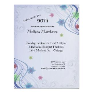 Elegant Blue Swirls And Colorful Waterflowers Card