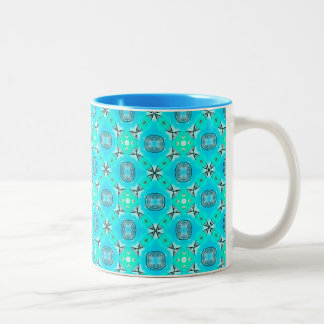 Elegant Blue Teal Abstract Modern Foliage Two-Tone Coffee Mug