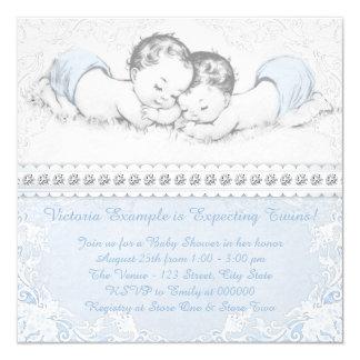 "Elegant Blue Twin Boy Baby Shower 5.25"" Square Invitation Card"