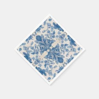 Elegant blue vintage floral disposable serviettes