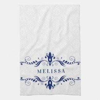 Elegant Blue Vintage Floral Swirls Frame Tea Towel