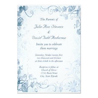 Elegant Blue Vintage Wedding Card