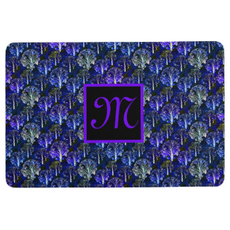 Elegant blue & violet monogrammed floor mat