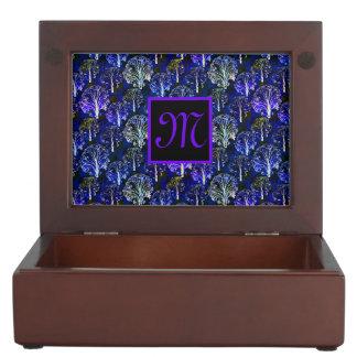 Elegant blue & violet monogrammed memory box