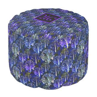 Elegant blue & violet monogrammed pouf