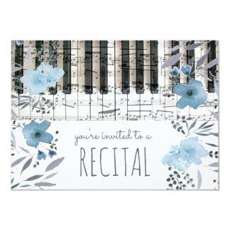 elegant blue watercolor flowers music recital 11 cm x 16 cm invitation card