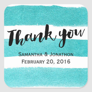 Elegant Blue Watercolor Stripes Wedding Thank You Square Sticker