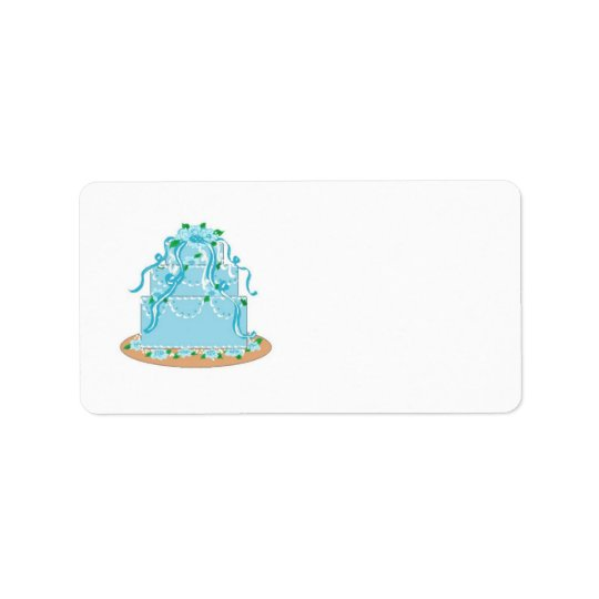 Elegant Blue Wedding Cake Address Label