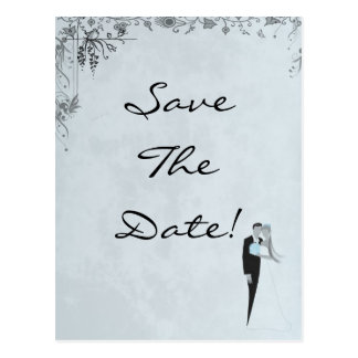 Elegant Blue Wedding Save The Date Card Postcard