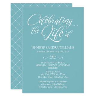 Elegant Blue & White Celebration of Life Card