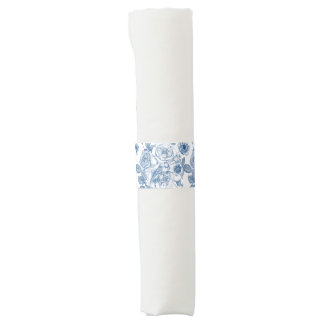 elegant blue white floral vintage napkin band