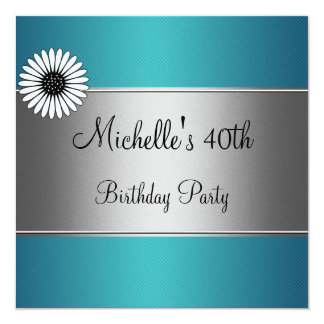 Elegant Blue White Flower Silver 40th Birthday Card