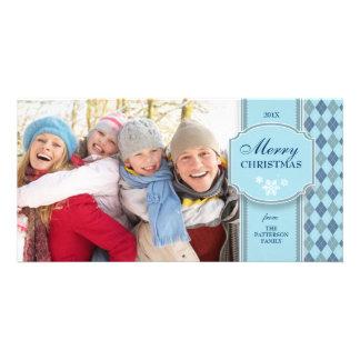 Elegant Blue & White Pattern Christmas Photo Card