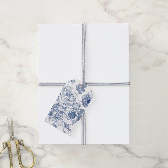 elegant blue white Vintage floral pattern tag