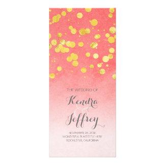 Elegant Blush and Gold Confetti Wedding Programs Rack Card