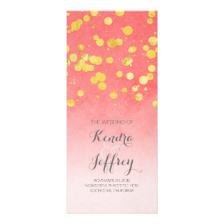Elegant Blush and Gold Confetti Wedding Programs Rack Card Design