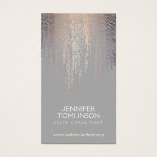 Elegant Blush Confetti Rain Pattern Gray Business Card