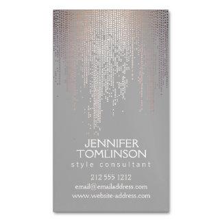 Elegant Blush Confetti Rain Pattern Gray Magnetic Business Cards