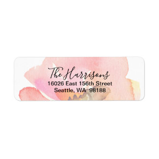 Elegant Blush Peach Watercolor Floral Return Address Label