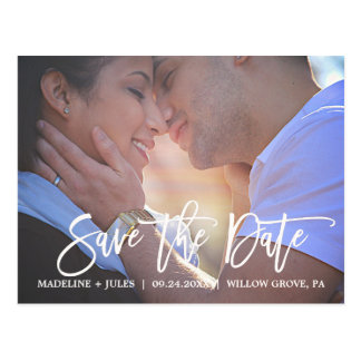 Elegant Blush Pink and White Save the Date Photo Postcard