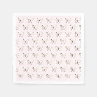 Elegant Blush Pink Butterfly Pattern Paper Napkins