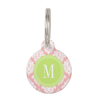 Elegant Blush Pink Damask Personalized Pet Name Tag