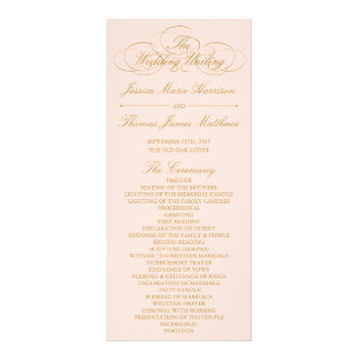 Elegant Blush Pink & Gold Wedding Program Template Rack Card
