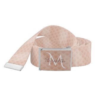 Elegant blush pink mermaid fish scale pattern belt