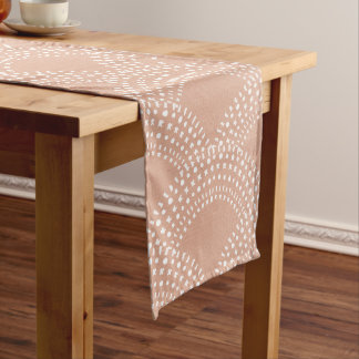 Elegant blush pink mermaid fish scale pattern long table runner