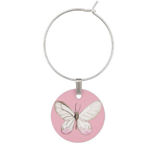 Elegant Blush Pink watercolor Butterfly Winecharm Wine Charm