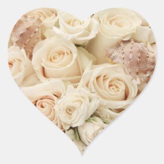 Elegant Blush Rose Floral Heart Wedding Stickers