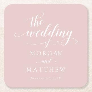 Elegant Blush & White Calligraphy Wedding Square Paper Coaster