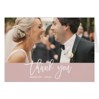 Elegant Blush & White Text Overlay Photo Thank You Card