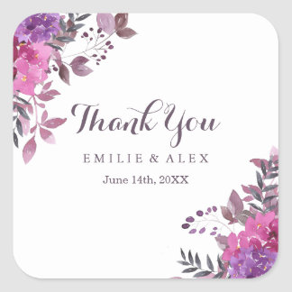 Elegant Boho Botanicals Thank You Stickers