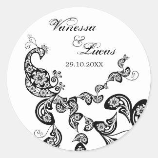Elegant Boho Floral Peacock Classy Wedding Sticker