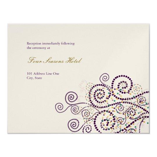 Elegant Boho Purple Spirals Wedding Reception Card