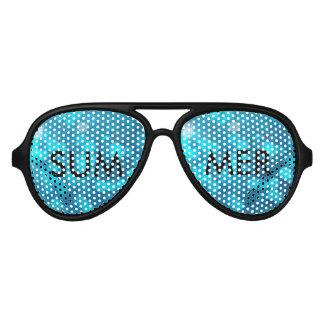 Elegant Bokeh Blue Turquoise Circles Pattern Aviator Sunglasses