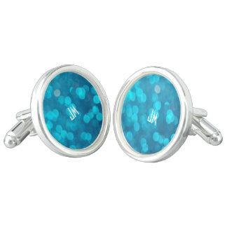 Elegant Bokeh Blue Turquoise Circles Pattern Cufflinks