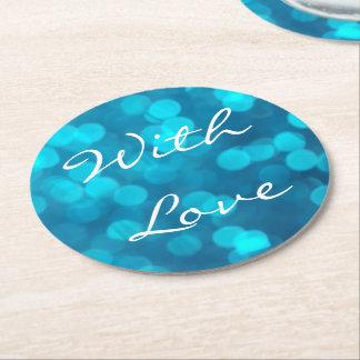 Elegant Bokeh Blue Turquoise Circles Pattern Round Paper Coaster