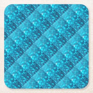 Elegant Bokeh Blue Turquoise Circles Pattern Square Paper Coaster